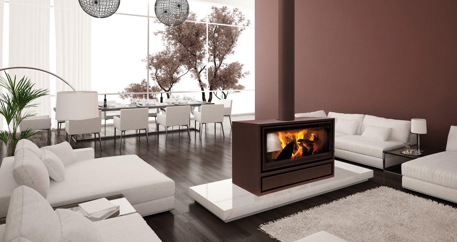 2 Sided Wood Burning Fireplace Fireplace Design Ideas
