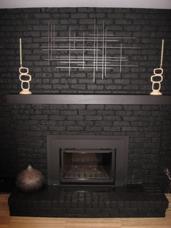Black Painted Brick Fireplace