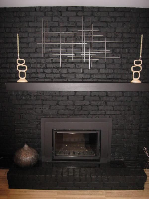 Black Painted Brick Fireplace Fireplace Design Ideas