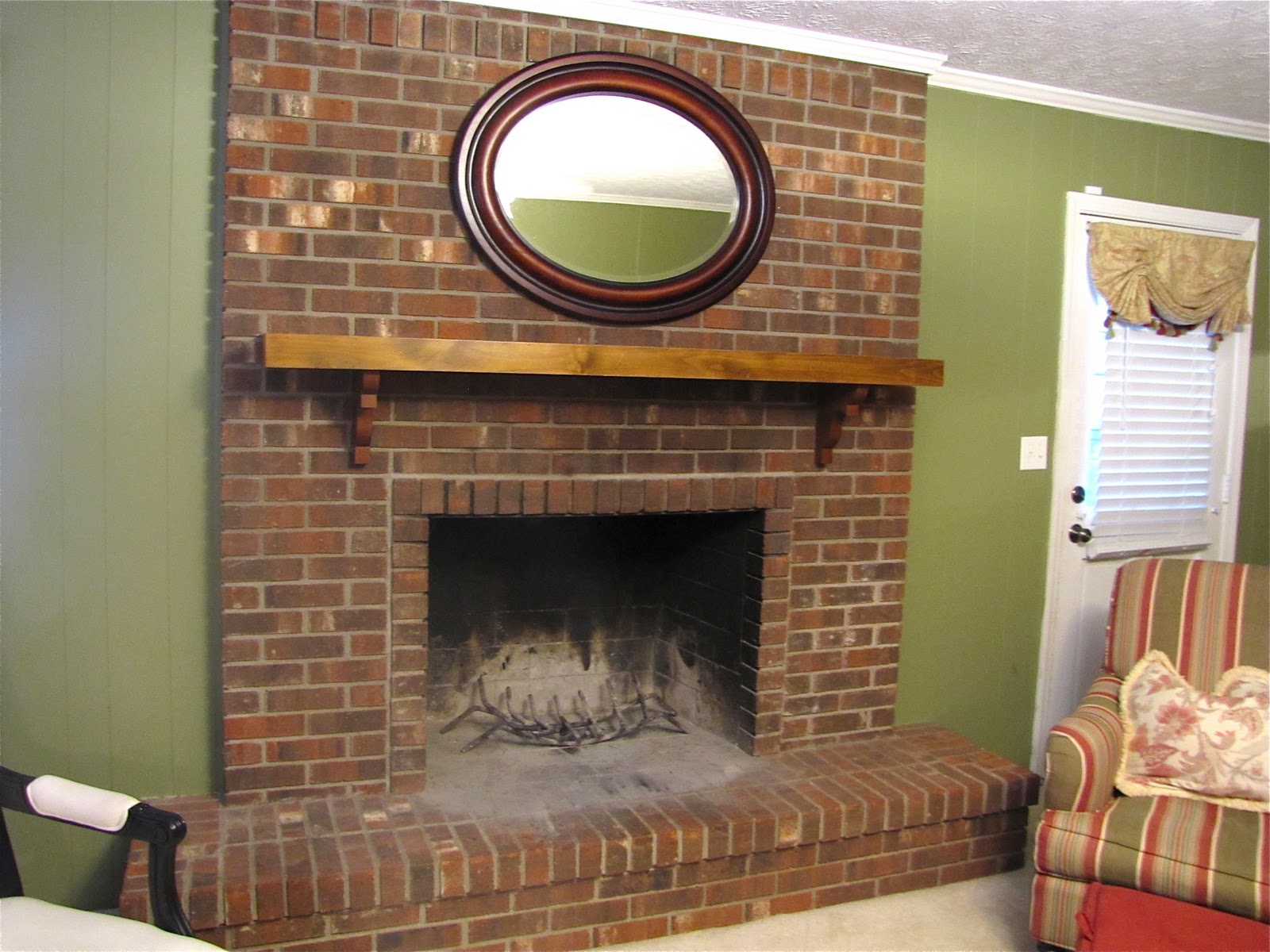 Brick Fireplace Part - 16: Brick Fireplace Mantel Makeover