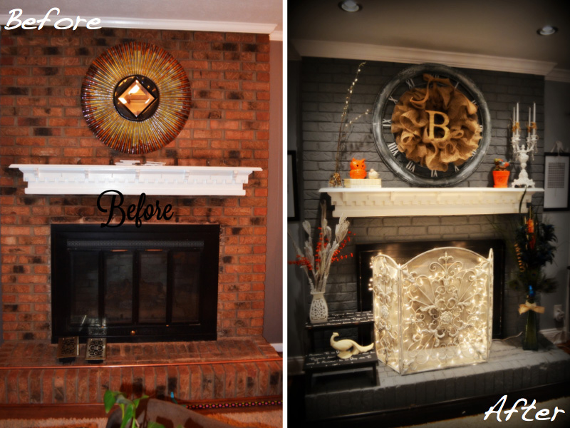 Marvelous Brick Fireplace Remodel Before And After Fireplace Design Home Interior And Landscaping Sapresignezvosmurscom