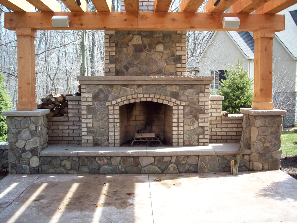 Brick Outdoor Fireplace Design