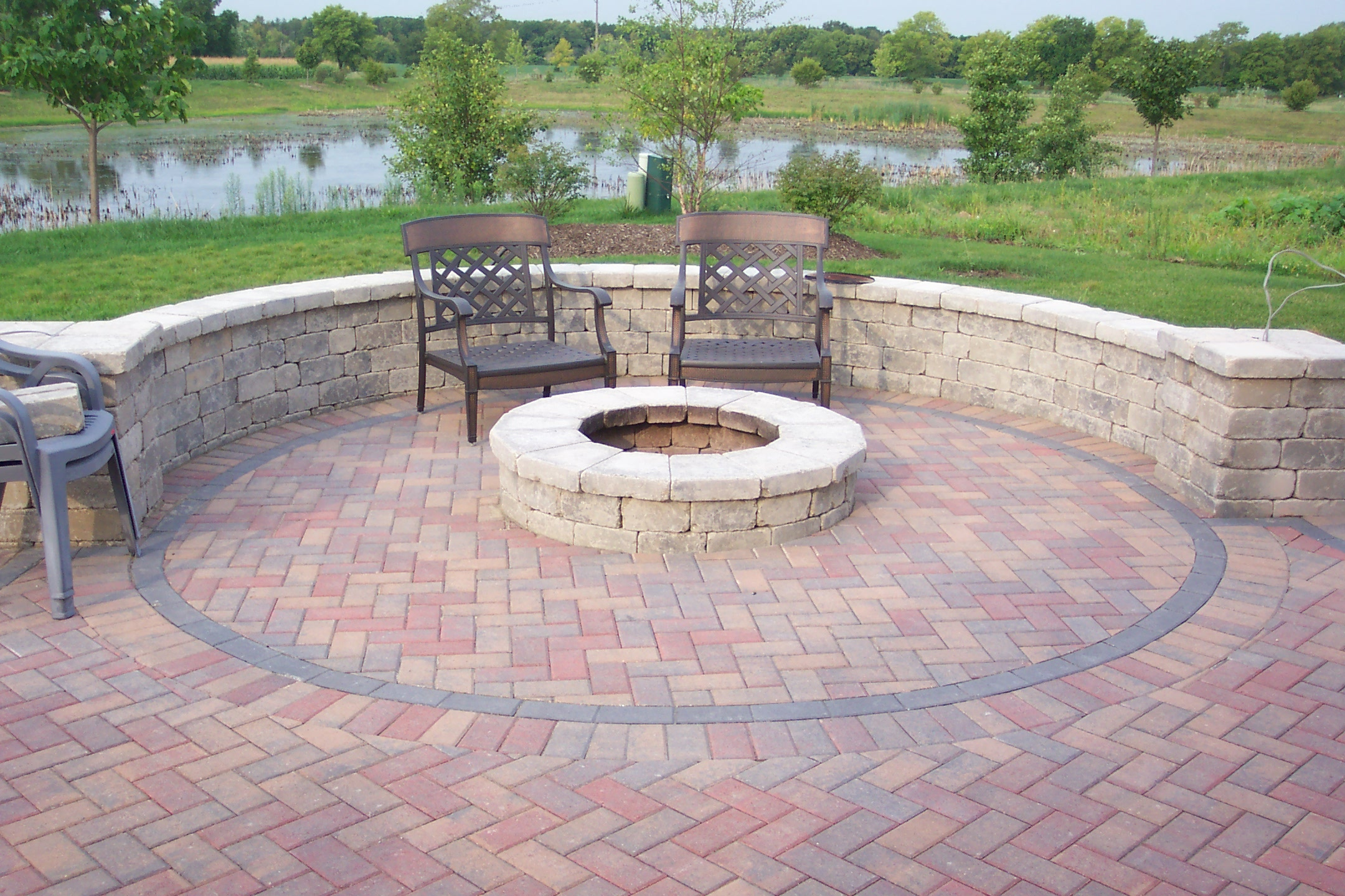Brick Patio Ideas with Fire Pit
