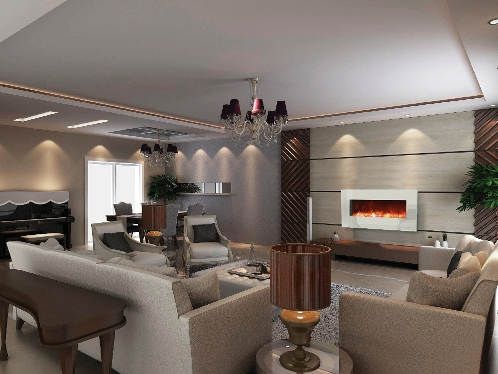 Electric Fireplace Design Ideas cream living room chairs with stainless steel table on the white rug furnished with ceiling lighting and completed with electric fireplace design ideas Built In Wall Electric Fireplace