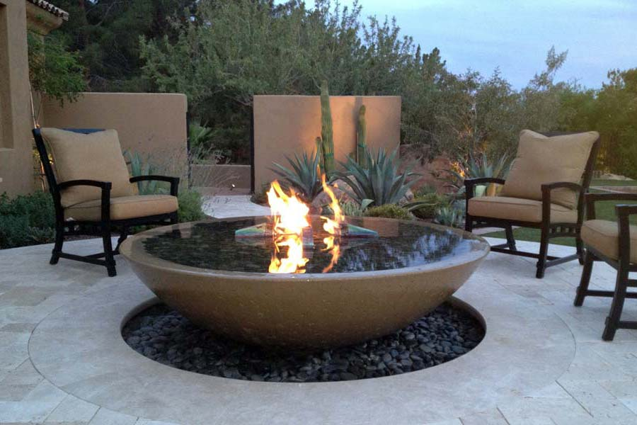 Concrete Bowl Fire Pit Fireplace Design Ideas