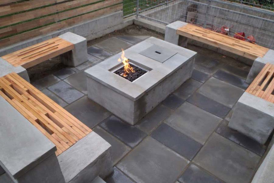 Concrete fire pit ideas fireplace design ideas for Modern fire pit ideas
