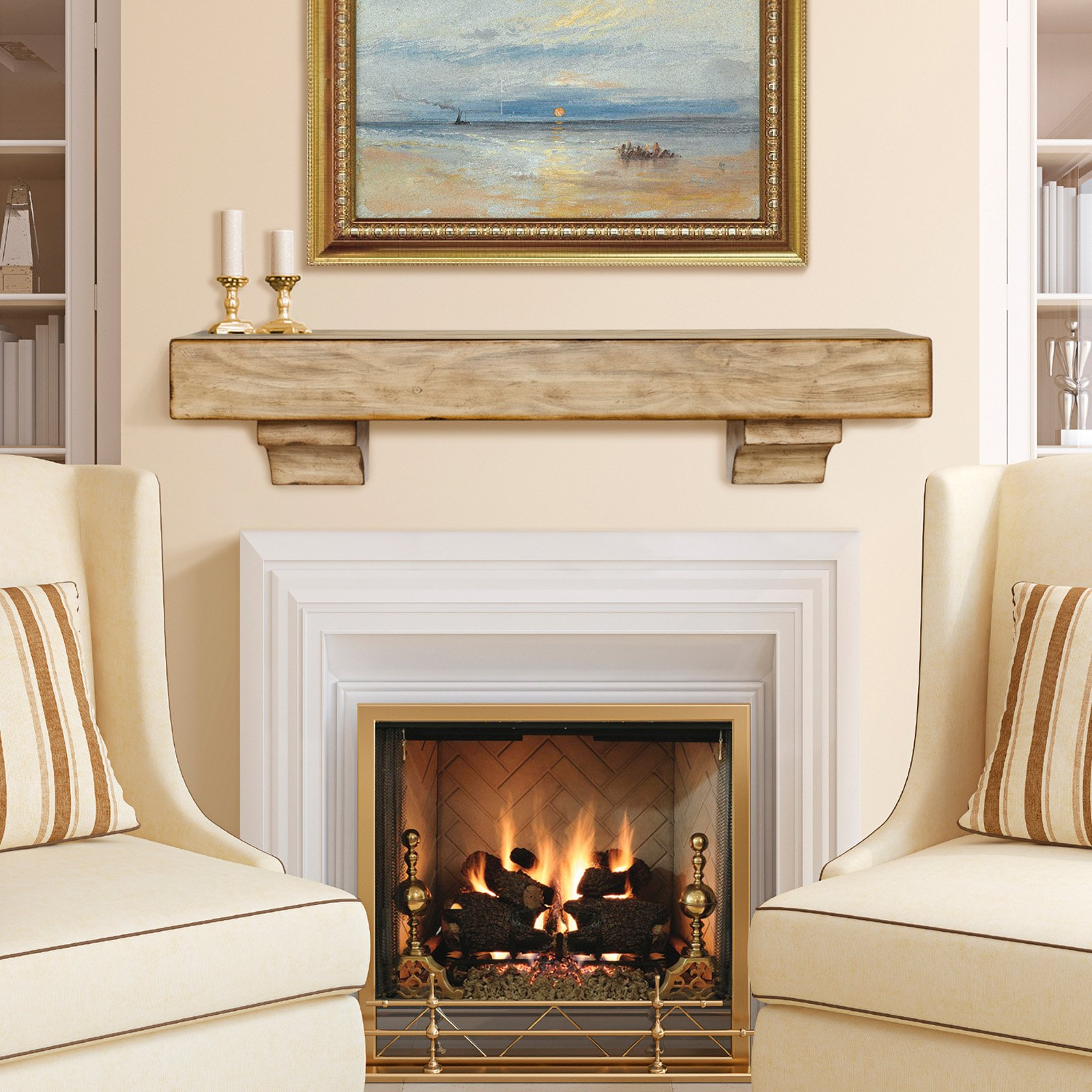 Contemporary mantels fireplace surrounds fireplace for Wood fireplace surround designs