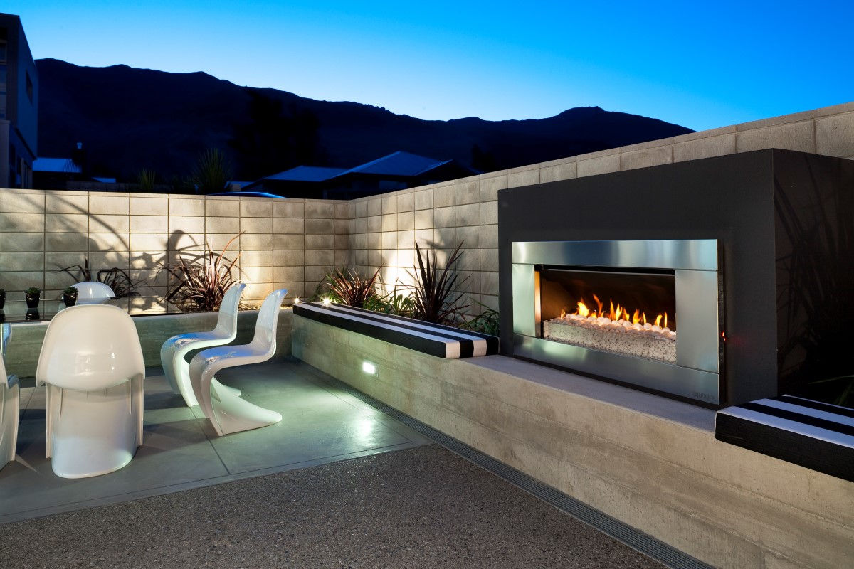 patio designs with fire pit and warm bath