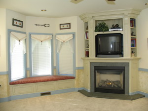 Corner Fireplace Mantels with TV Above