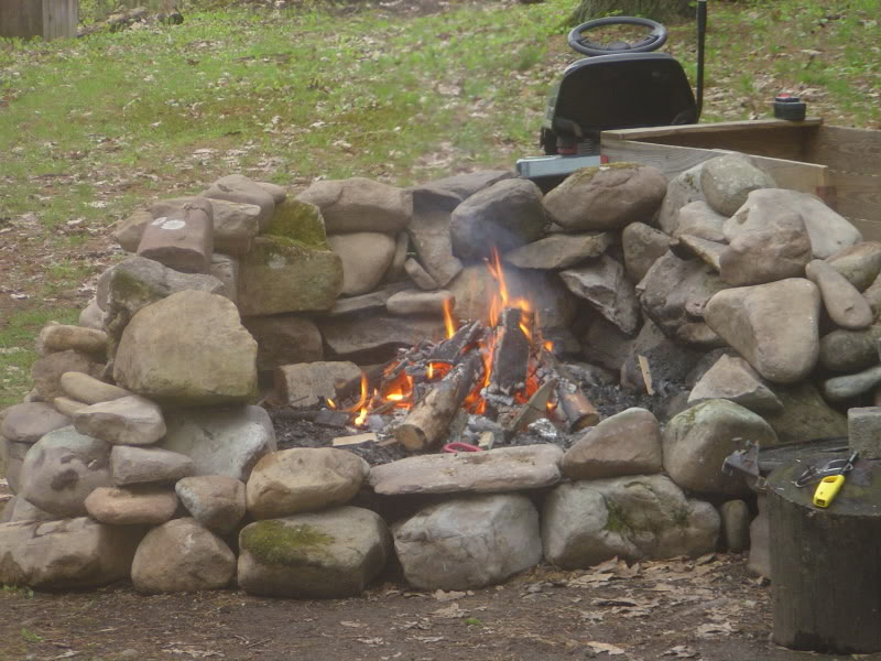 creek rock fire pit fireplace design ideas