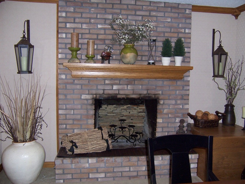 Distressed Painted Brick Fireplace