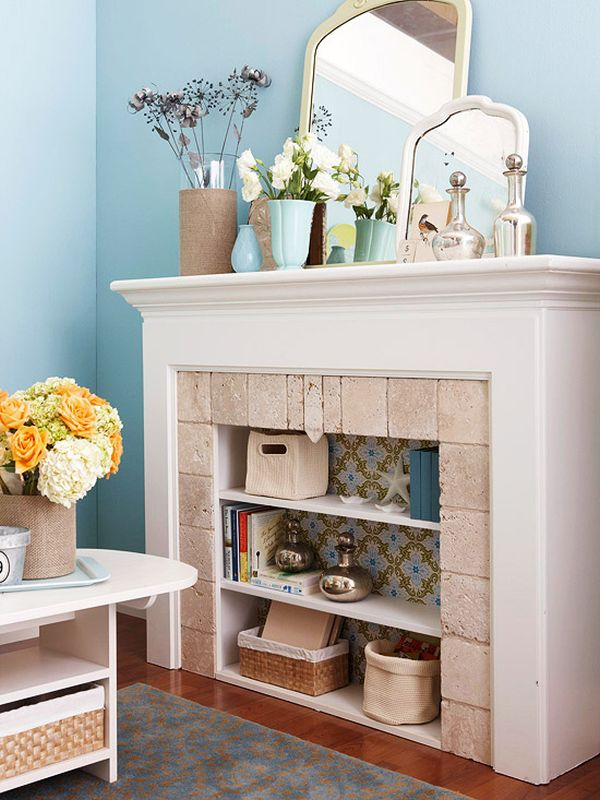 how to build a fake fireplace