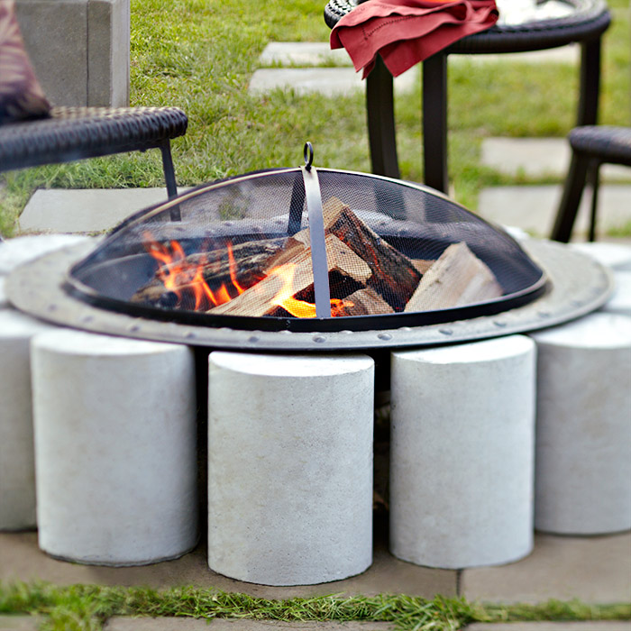 Diy fire pit on concrete patio fireplace design ideas