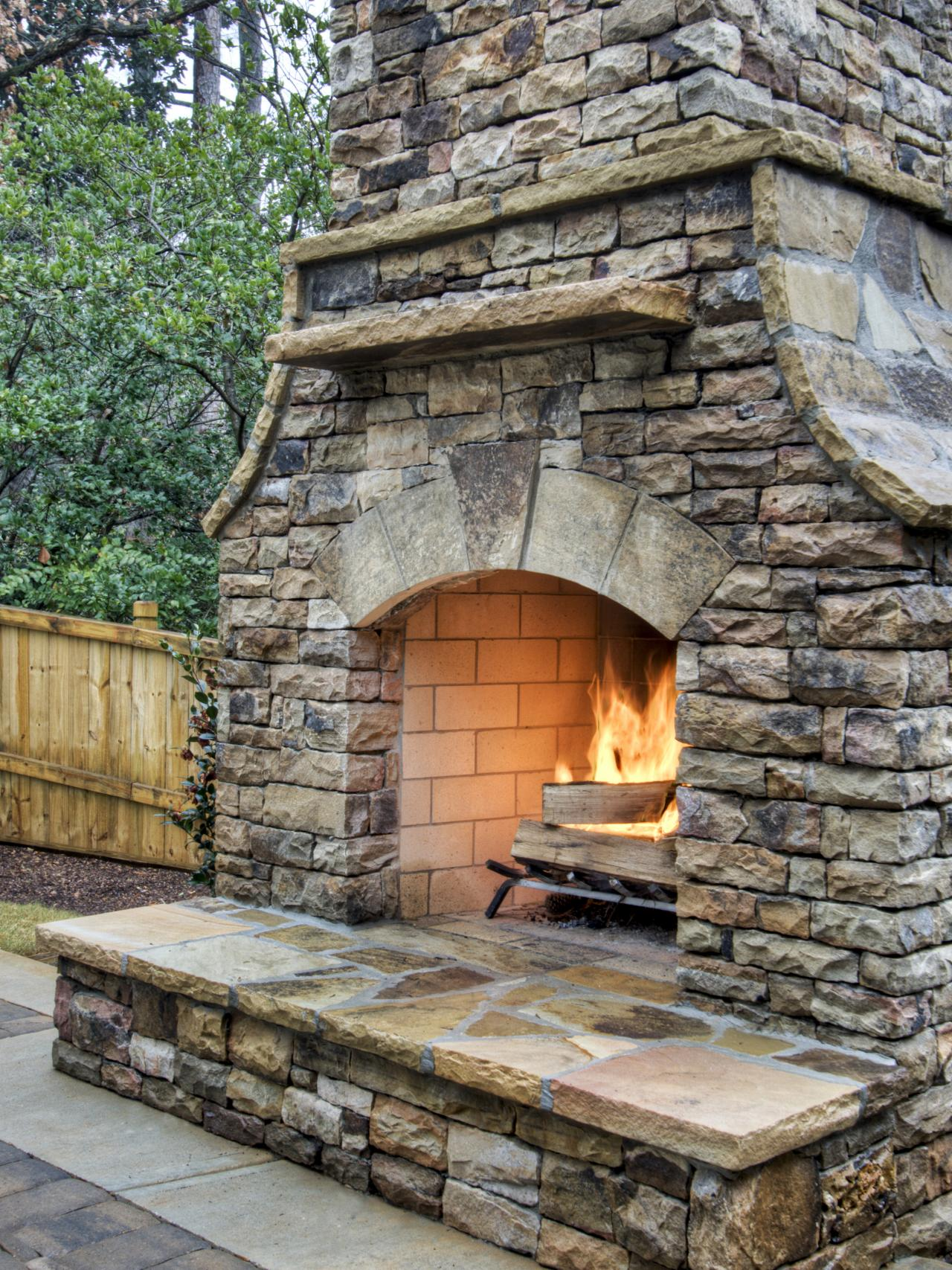 DIY Outdoor Stone Fireplace