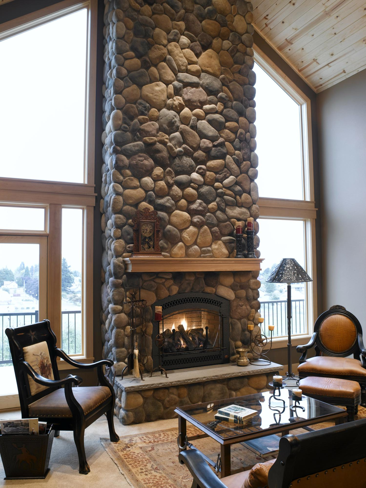 DIY River Rock Fireplace | FIREPLACE DESIGN IDEAS
