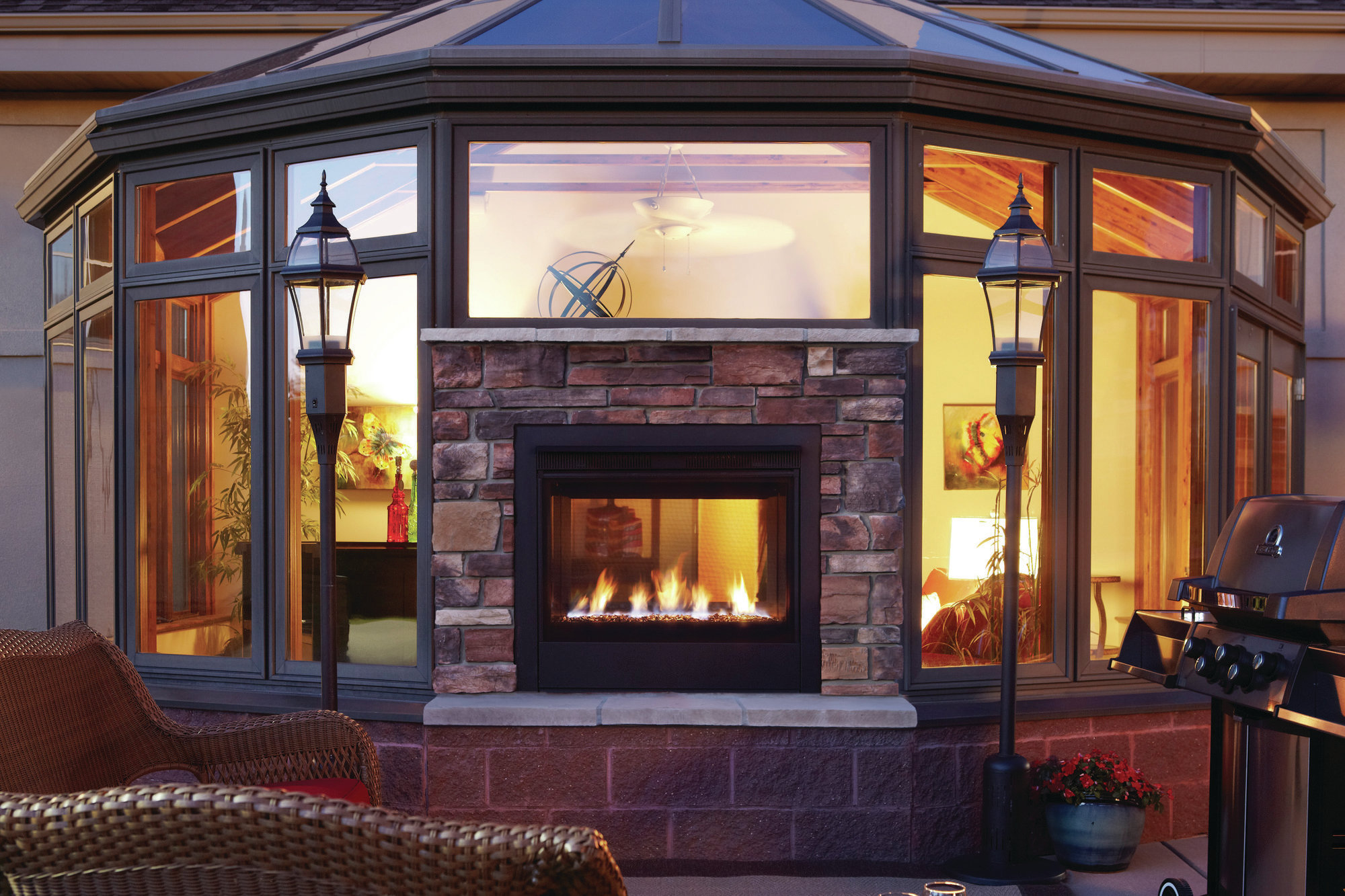Double Sided Gas Fireplace Indoor Outdoor Fireplace