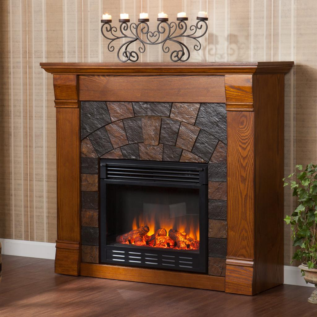 Electric Fireplace with Stone Mantel