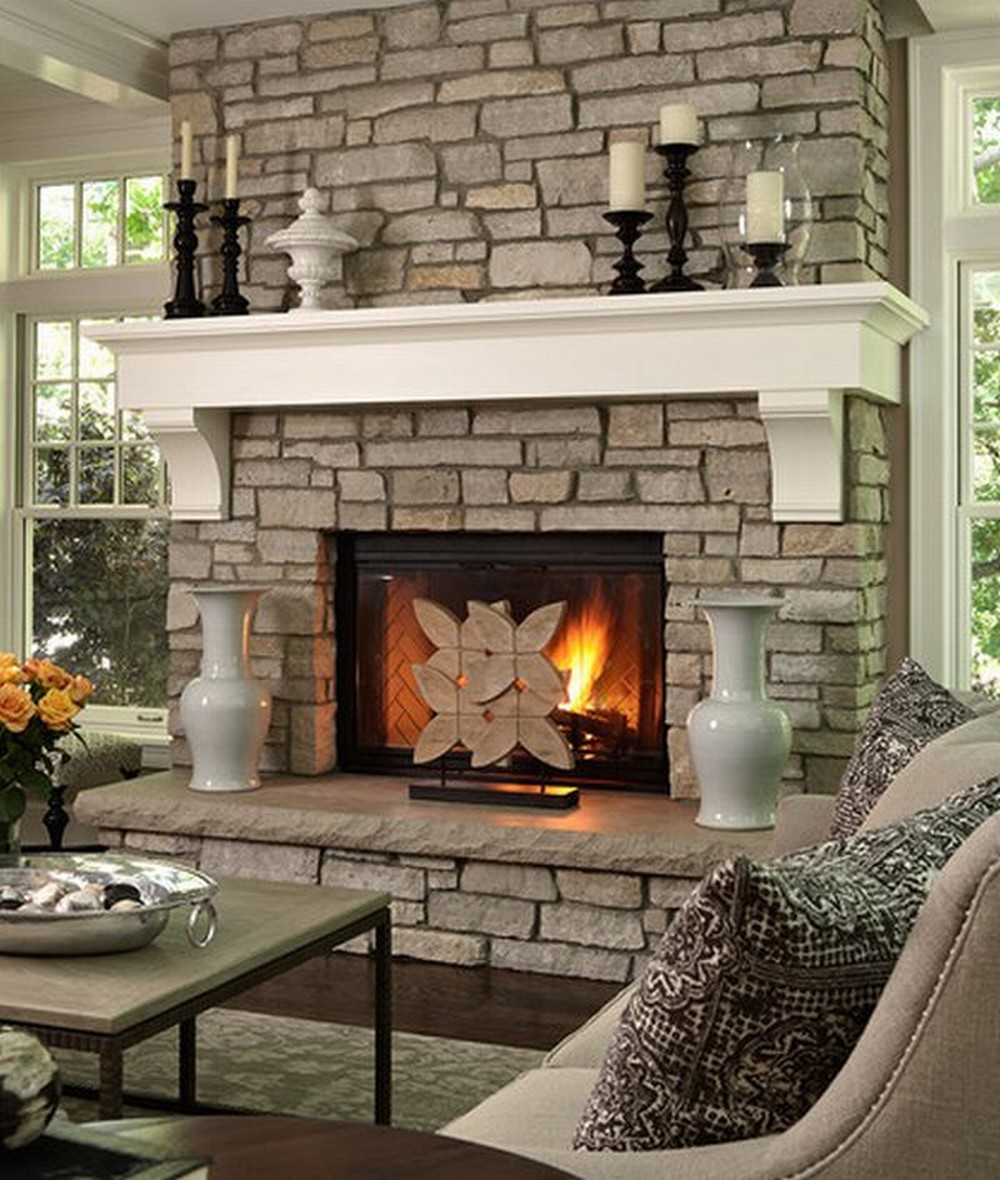fake stone fireplace interior design