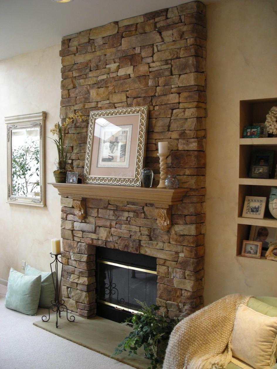 Fake Stone Fireplace Wall
