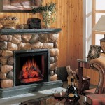 Faux River Rock Fireplace
