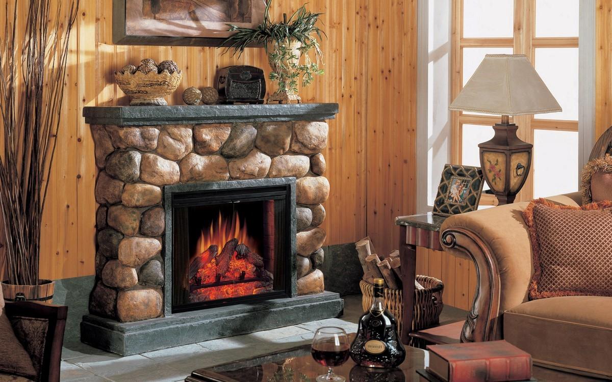 Faux River Rock Fireplace