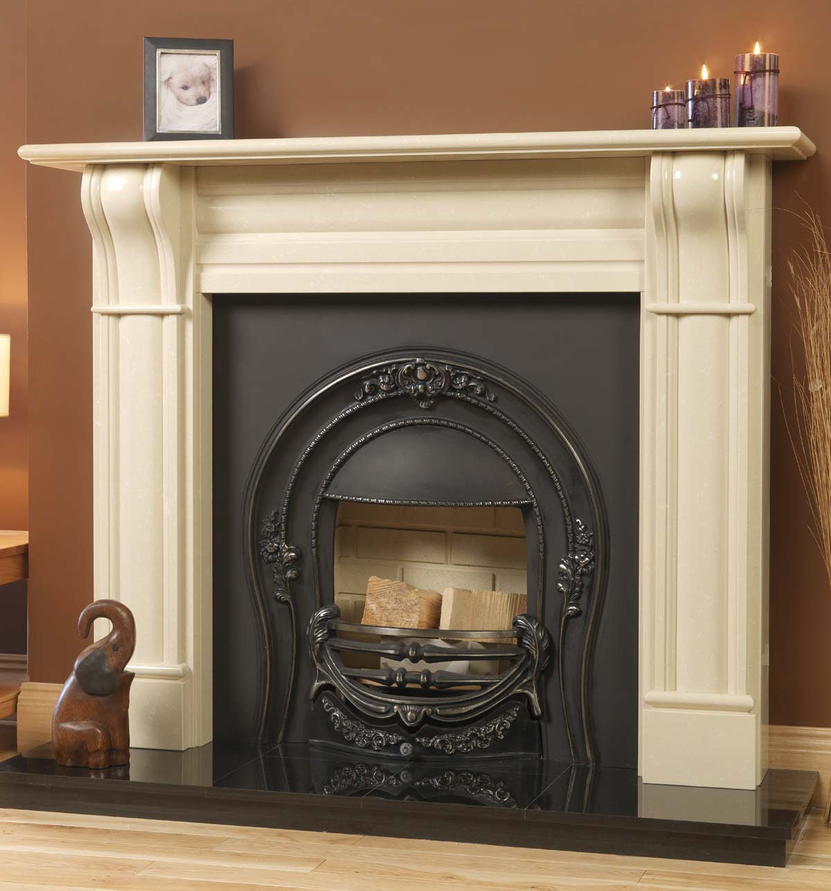 Why not a faux fireplace mantel fireplace design ideas for Faux marble fireplace mantels