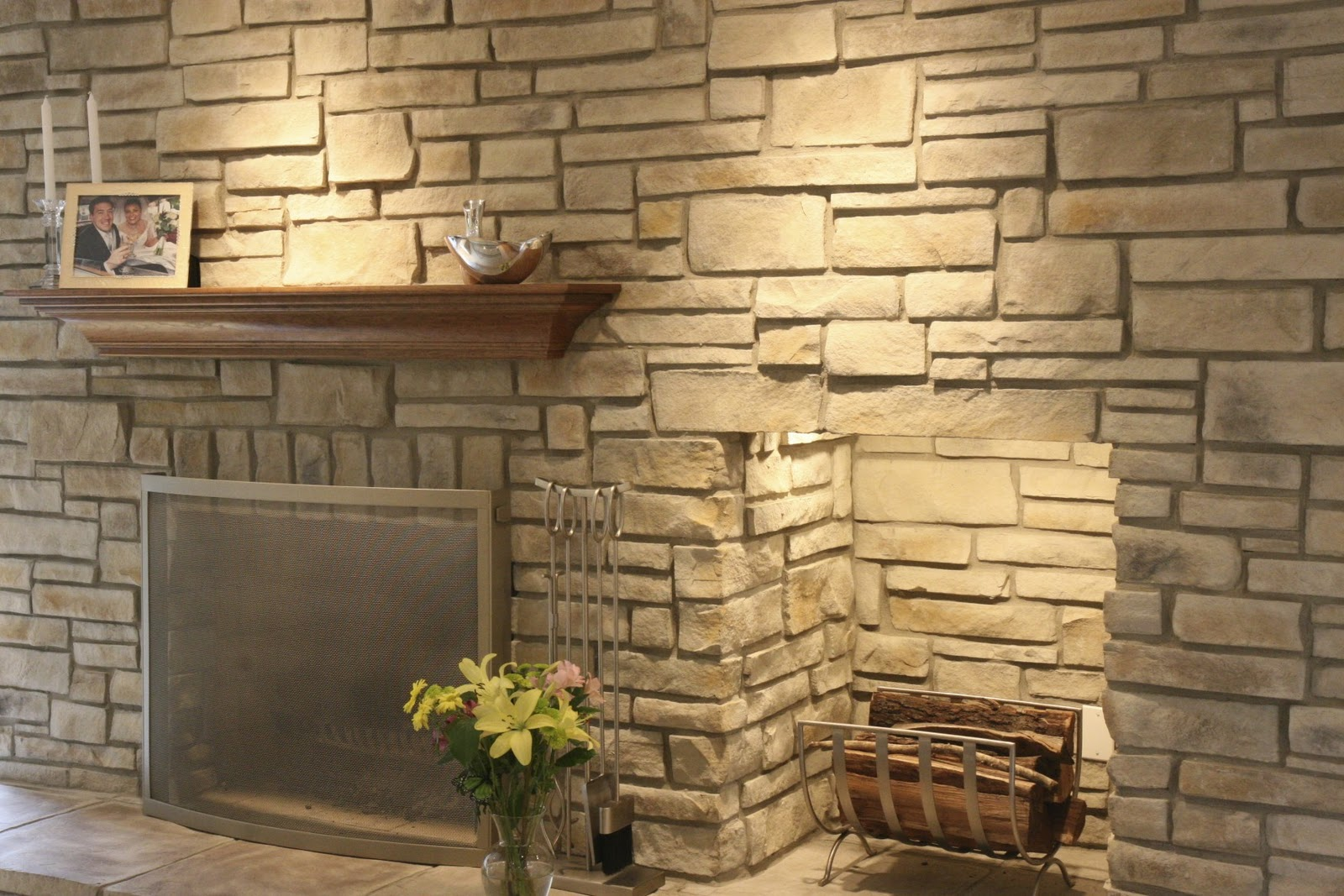 faux stone fireplace is a budget solution for your home fireplace design ideas. Black Bedroom Furniture Sets. Home Design Ideas