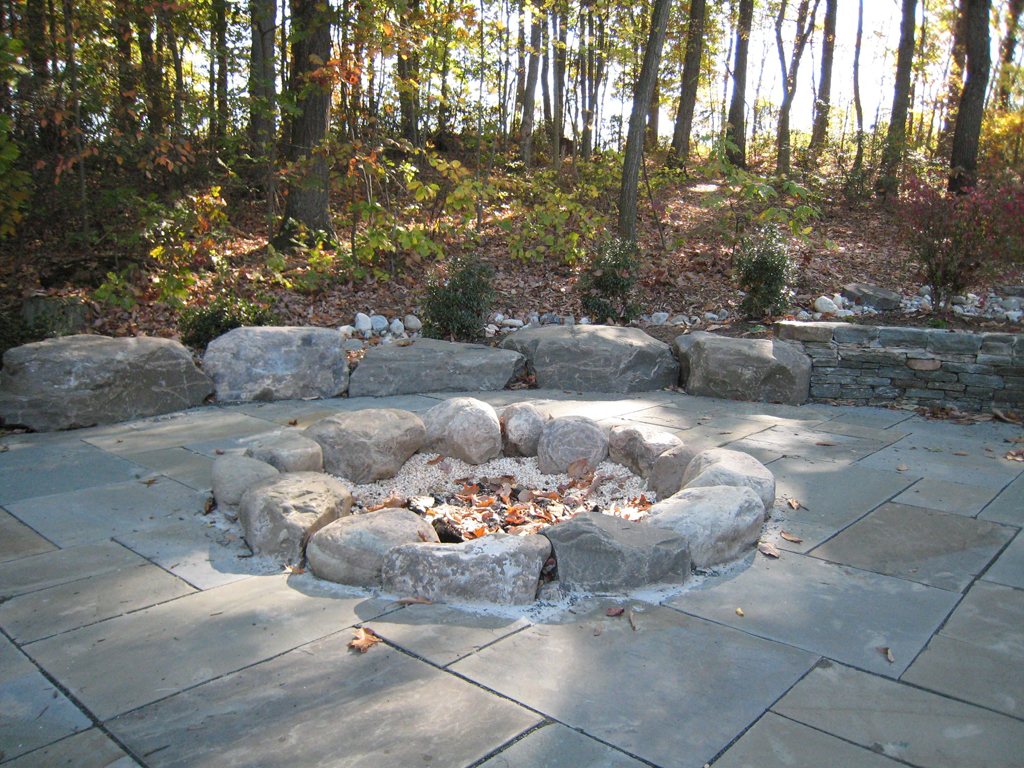 Fire Pit River Rock Fireplace Design Ideas