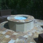 Fire Pit with Glass Rocks