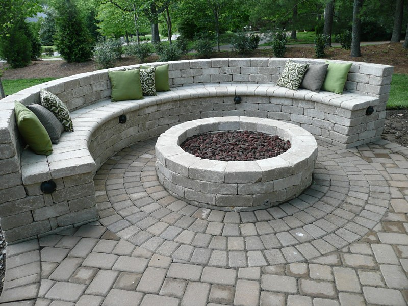 Fire Pit With Seating Wall Fireplace Design Ideas