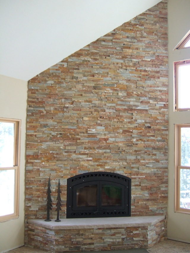 Fireplace stone veneer installation fireplace design ideas for How to install stone veneer over exterior brick