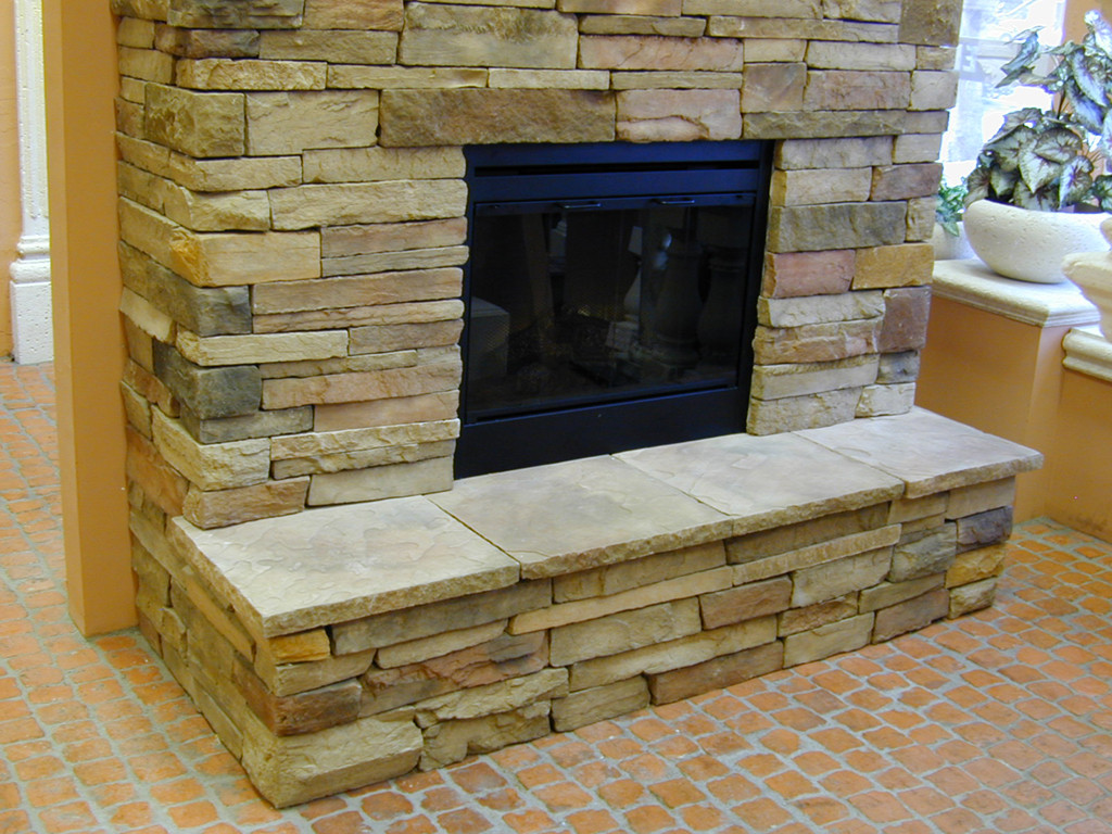 Fireplace with Stone Veneer