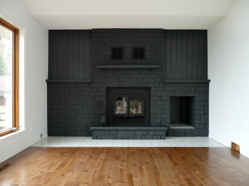 Gray Painted Brick Fireplace