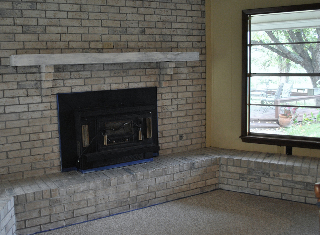 What to Consider in Painted Fireplace Brick : Grey Painted Brick Fireplace. Grey painted brick fireplace. fireplace decor