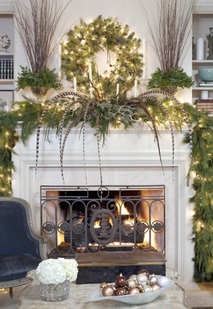 How to decorate a fireplace mantle fireplace design ideas for How to decorate a fireplace for christmas
