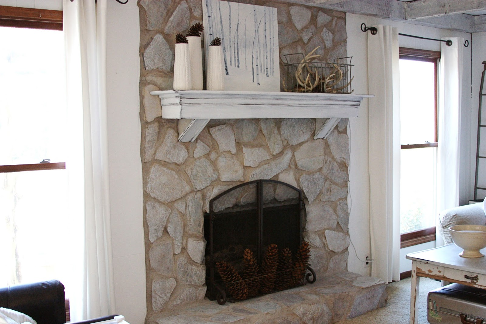How To Paint A Stone Fireplace White Fireplace Design Ideas
