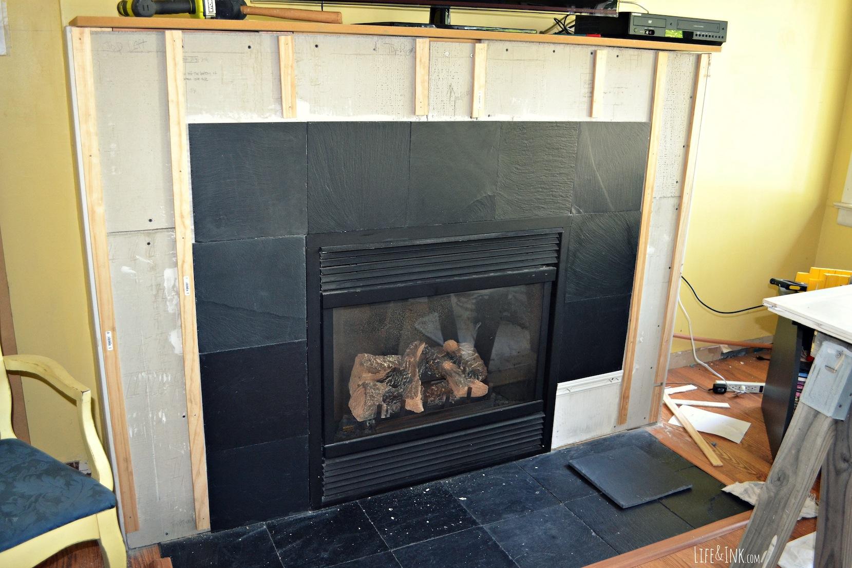Fireplace stone work tile idea