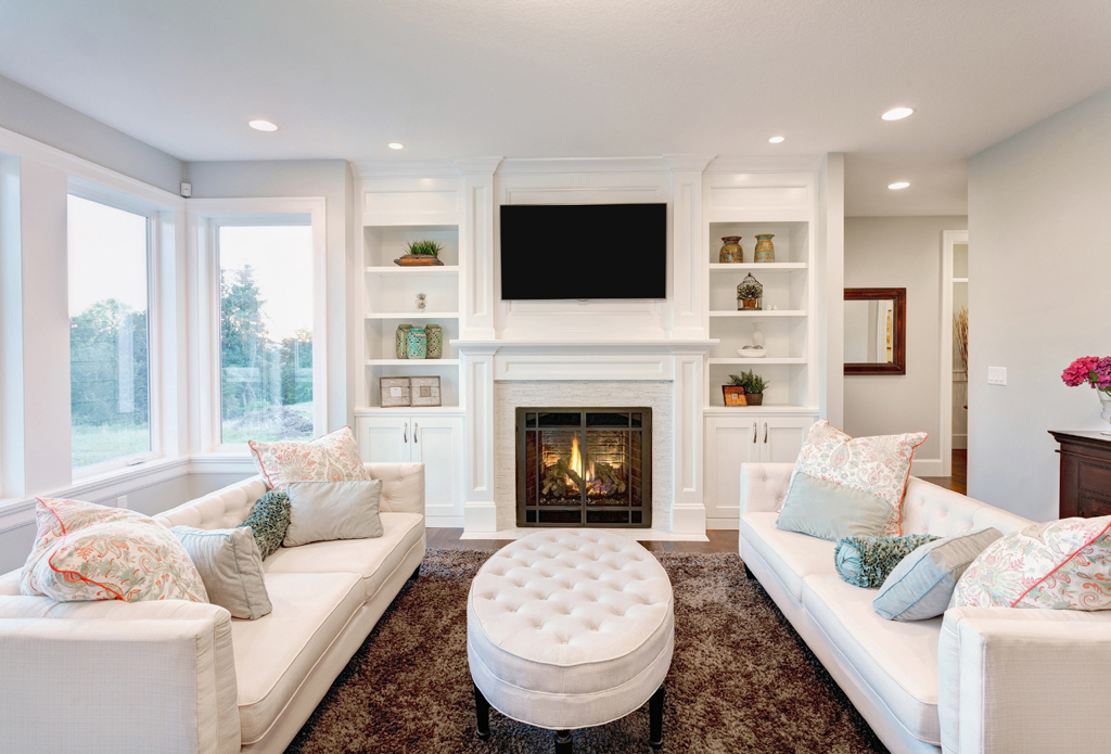 Living Room with White Fireplace