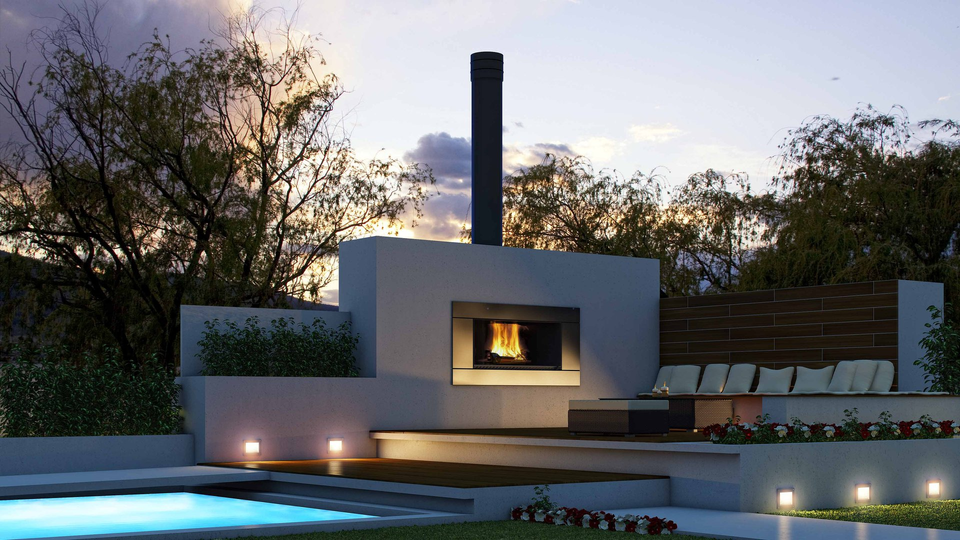 Outdoor Fireplace Design Ideas small backyard fireplace Modern Outdoor Fireplace