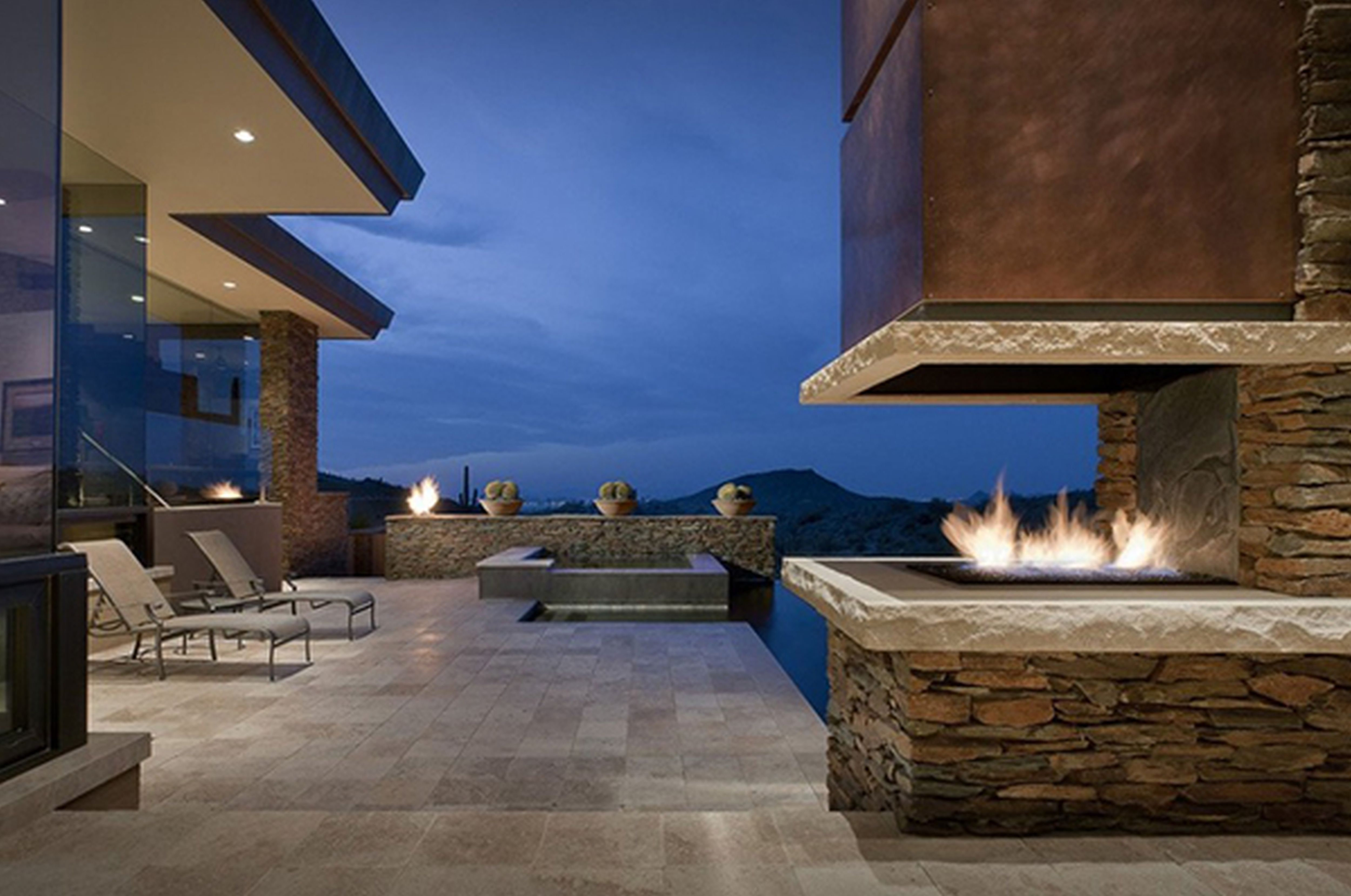 Modern Outdoor Fireplace With Tv