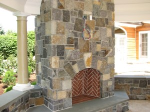 Natural Stone Veneer Fireplace