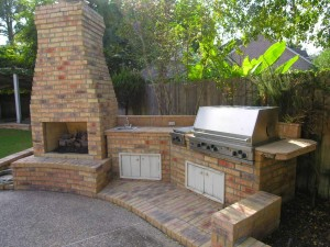 Outdoor Brick Fireplace Grill Designs