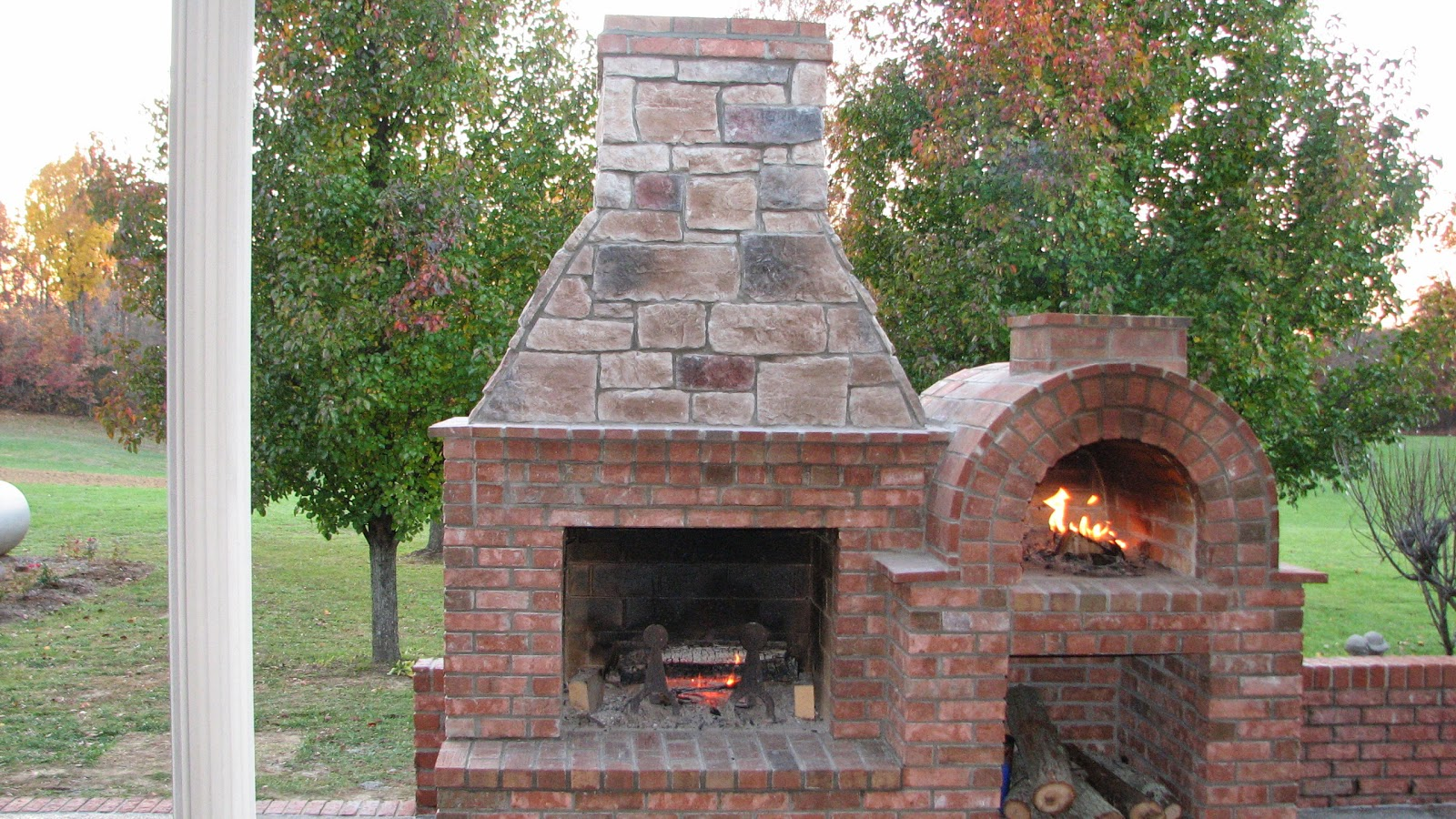Outdoor brick fireplace with oven fireplace design ideas for Outside fireplace plans