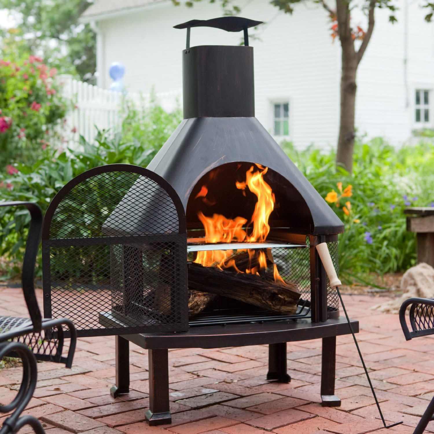 Outdoor Fire Pit Chimney Fireplace Design Ideas