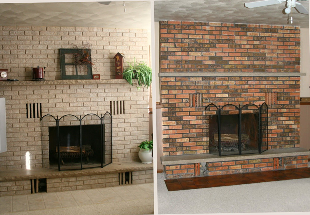 Painting brick fireplace before and after fireplace for Fireplace paint color ideas