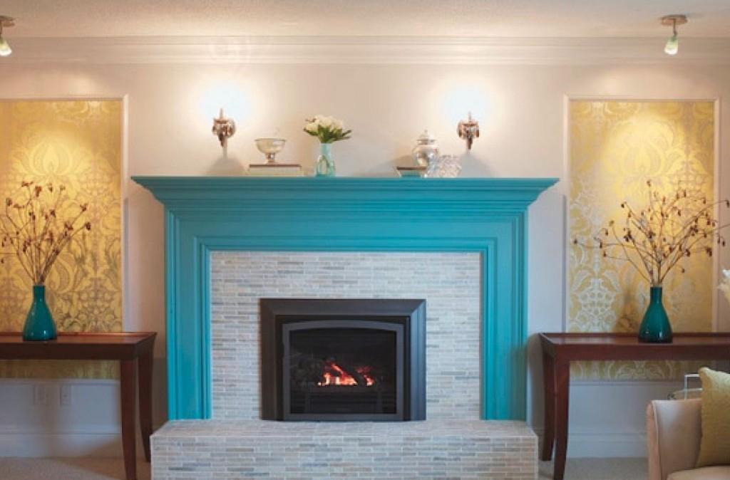 Painted brick fireplace wall