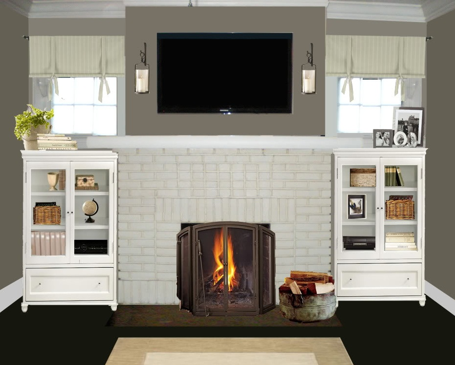 Painted brick fireplace ideas fireplace design ideas for Small fireplace ideas