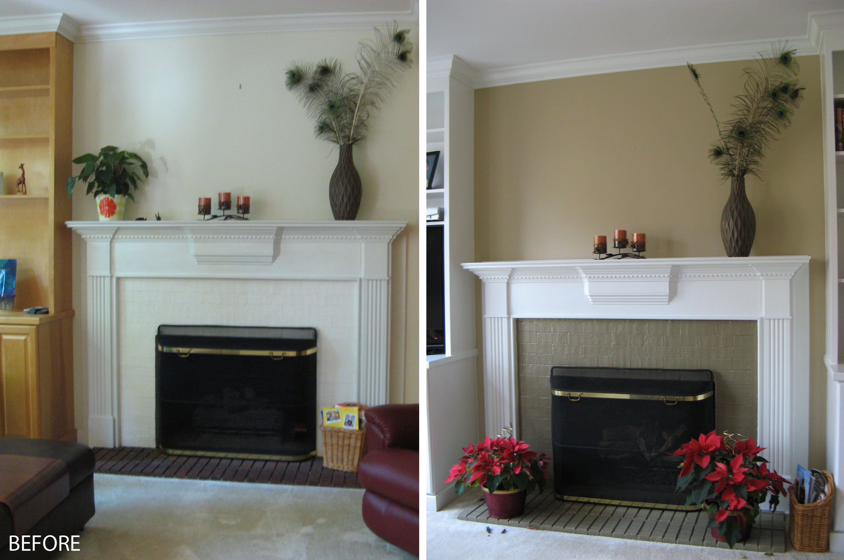 Painted brick fireplace images fireplace design ideas for Fireplace paint color ideas