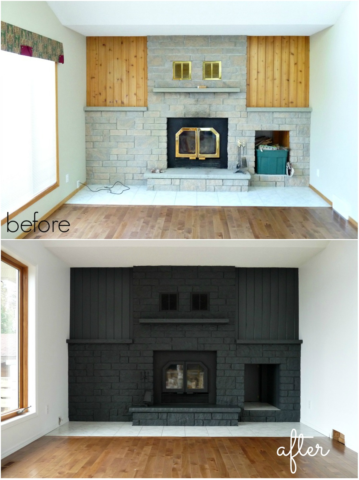 Painted brick fireplace makeover fireplace design ideas for Bricks painting design