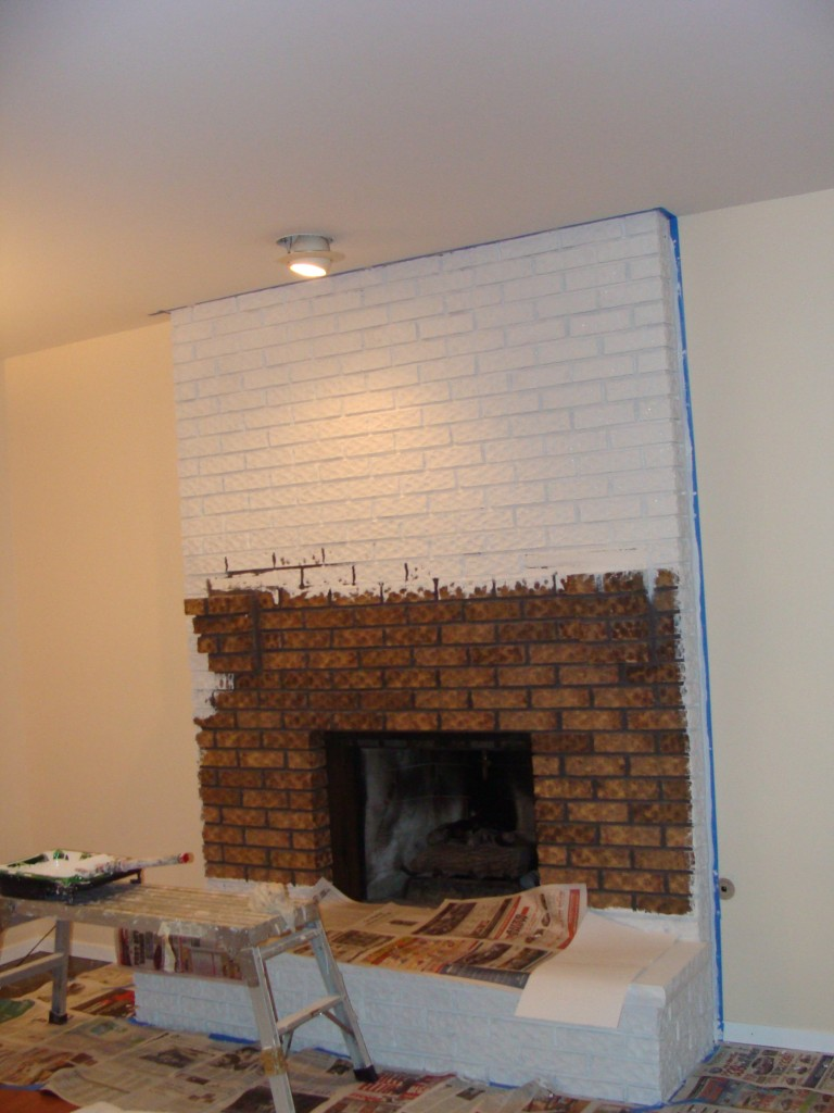 Painted white brick fireplace fireplace design ideas Brick fireplace wall decorating ideas